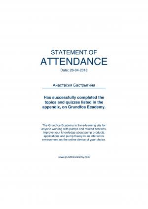 Statement of Attendance – Бастрыгина Анастасия